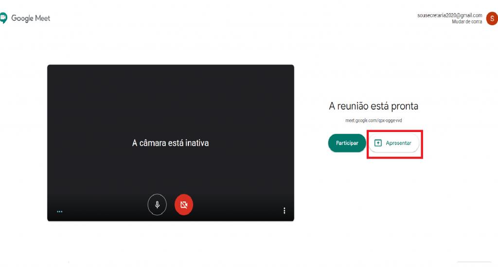 Apresentar tela em chamada de vídeo.